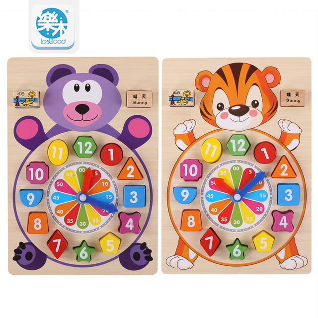 Baby Toys Wooden Block Clock Building Blocks Education Montessori Table  Game Kids Toy For Children Teaching