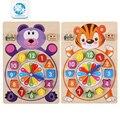 Juguetes del bebé educación montessori mesa reloj de bloques de bloques de construcción de madera de juguete juego de niños para enseñar a los niños regalos