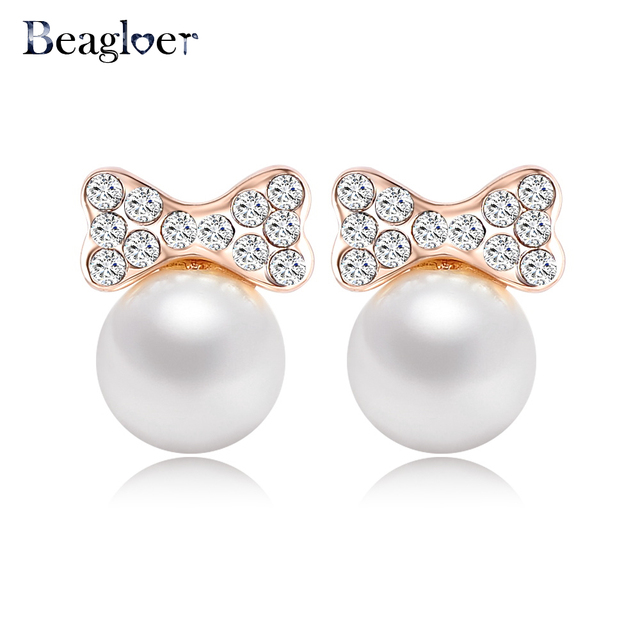 Beagloer Korean Cute Imitation Pearl Earring Rose Gold Color Bow Earrings Made With Austrian Crystals Er0194