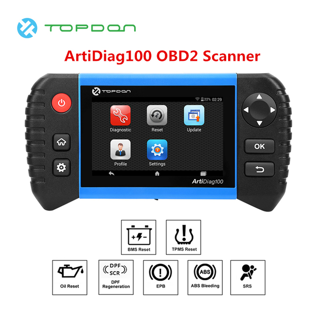 TOPDON ArtiDiag100 OBD2 Scanner Android Based 5 0 Touch Screen All Systems  with DPF ABS SAS SRS EPB BMS Functions Code Reader