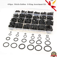 450pcs O Ring Assortment Kit SAE Pneumatic Air Rubber Hydraulic Tool Set Nitrile Rubber NBR O Ring Washer Seal Assortment Set