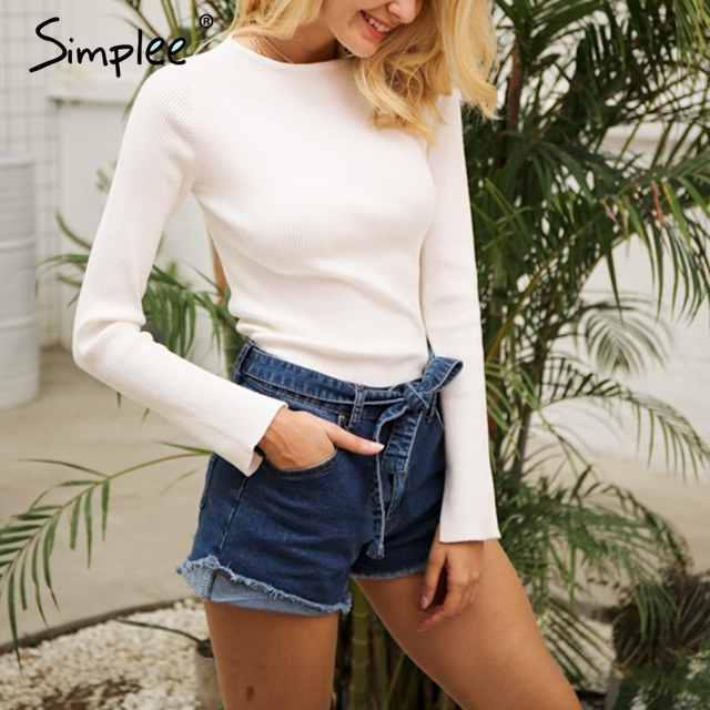 Simplee Denim shorts women buttoms Elastic bow fringe blue high waist shorts Casual 2017 pockets sexy mini short jeans shorts