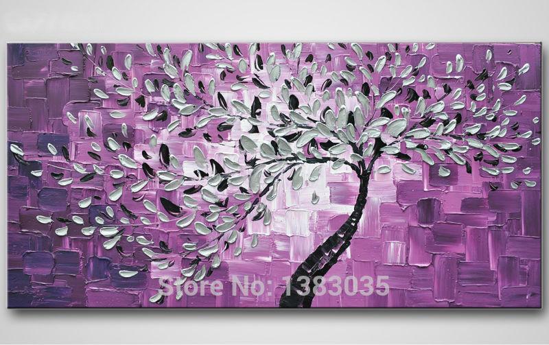 Əl ilə rənglənmiş bənövşəyi kətan yağlı boya bıçağı - Ev dekoru - Fotoqrafiya 1