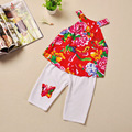 New Girls Cotton Children Dresses Tradition Chinese Style T-shirt+Pants Costume Clothes Kids Baby Cotton For Toddler Little Kid