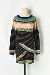 Image 3 - Runway Womens sweater sets 2019 Autumn Lurex Striped Loose Pullver Sweater + High Waist Mini Knitted skirt Women 2 piece Set