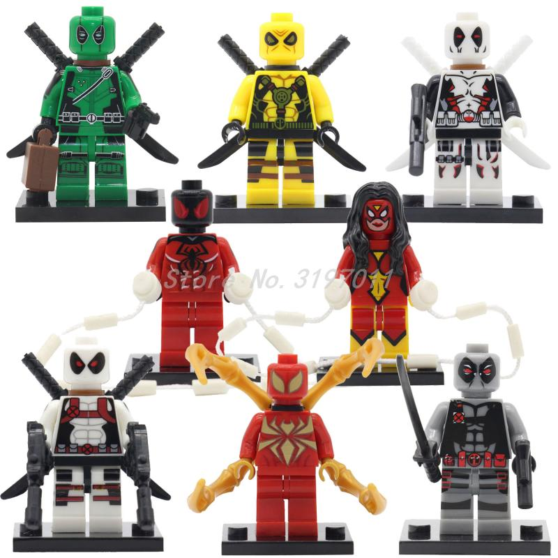 Marvel Super Hero 8pcs/set Deadpool Spider man Spider-woman Building Block Model Toys For Children Kids Christmas Gifts
