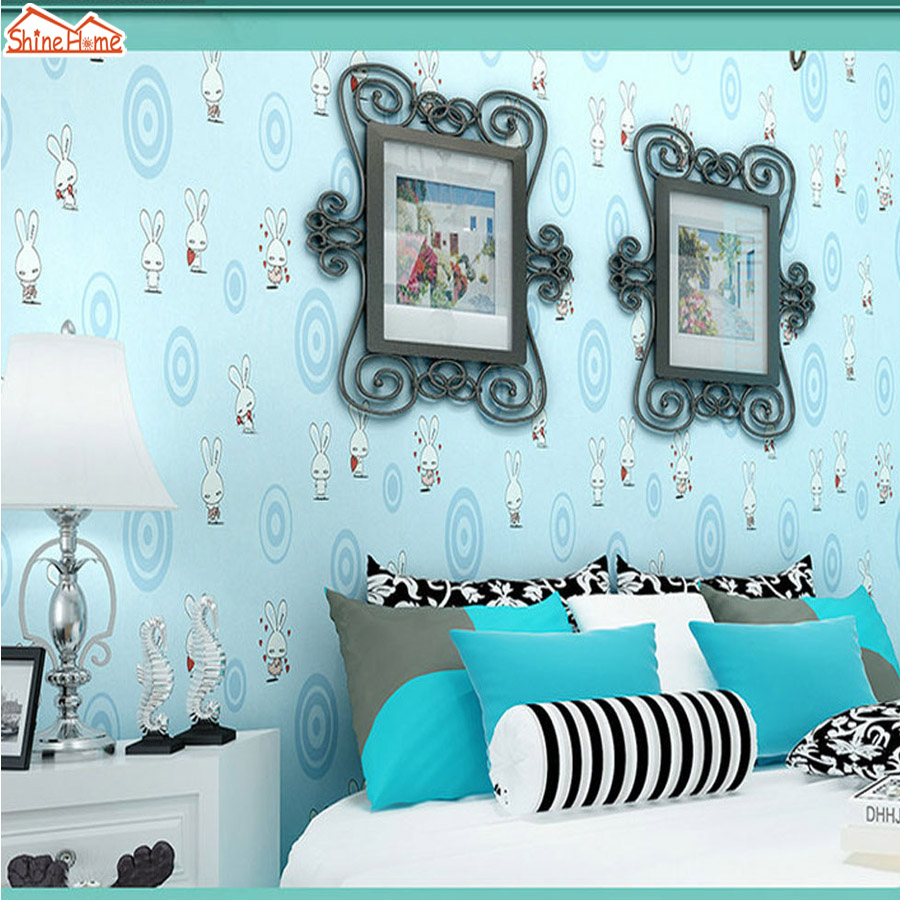 ShineHome-10m Cartoon Cute Rabbit Animal Room Wallpaper Mural Rolls for Kids Bedroom Wall Non Woven Wall Paper Background DIY can customized cartoon dream animal fairy tale girly kids room large 3d mural wallpaper wall paper fresco dinning room bedroom