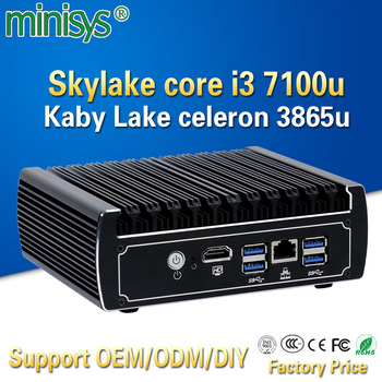 Minisys Pfsense fanless mini pc x86 core i3 7100u celeron 3865u 6*Intel Lans DDR4 linux firewall router DHCP VPN network server