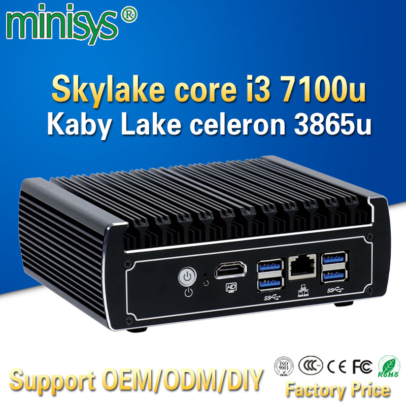 Minisys Pfsense fanless mini pc x86 core i3 7100u celeron 3865u 6*Intel Lans DDR4 linux firewall router DHCP VPN network server устройство аккордеона