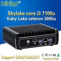 Minisys Pfsense fanless mini pc x86 core i3 7100u celeron 3865u 6*Intel Lans DDR4 linux firewall router DHCP VPN network server