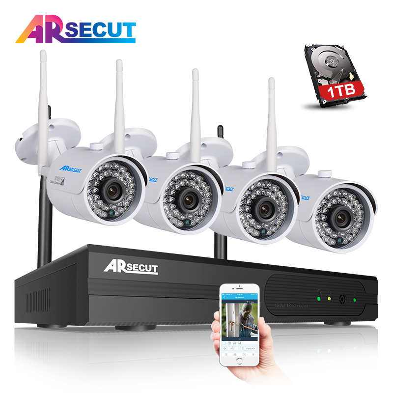 Arsecut 4CH H.264 Wireless NVR CCTV System 960P HD 36IR Outdoor+Indoor WIFI IP Camera Security Video Recorder Surveillance Kit 1tb hdd cctv system 4ch h 264 wireless nvr security video recorder p2p 1 3mp outdoor ir wifi ip camera 960p surveillance camera