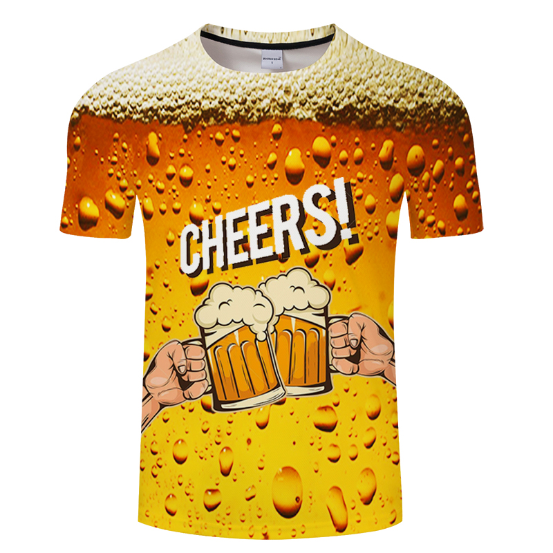 3D cool summer beer printed T-shirt novel short-sleeved high quality casual fashion men's short-sleeved T-shirt image