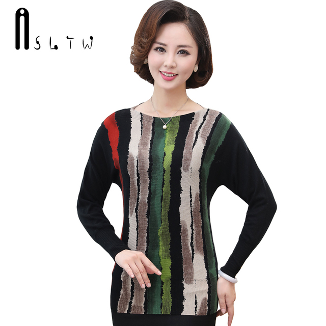 ASLTW Lady's Sweater New Pullover Blouse Batwing Sleeve O Neck Printing  Sweater For Women Casual Pull Femme