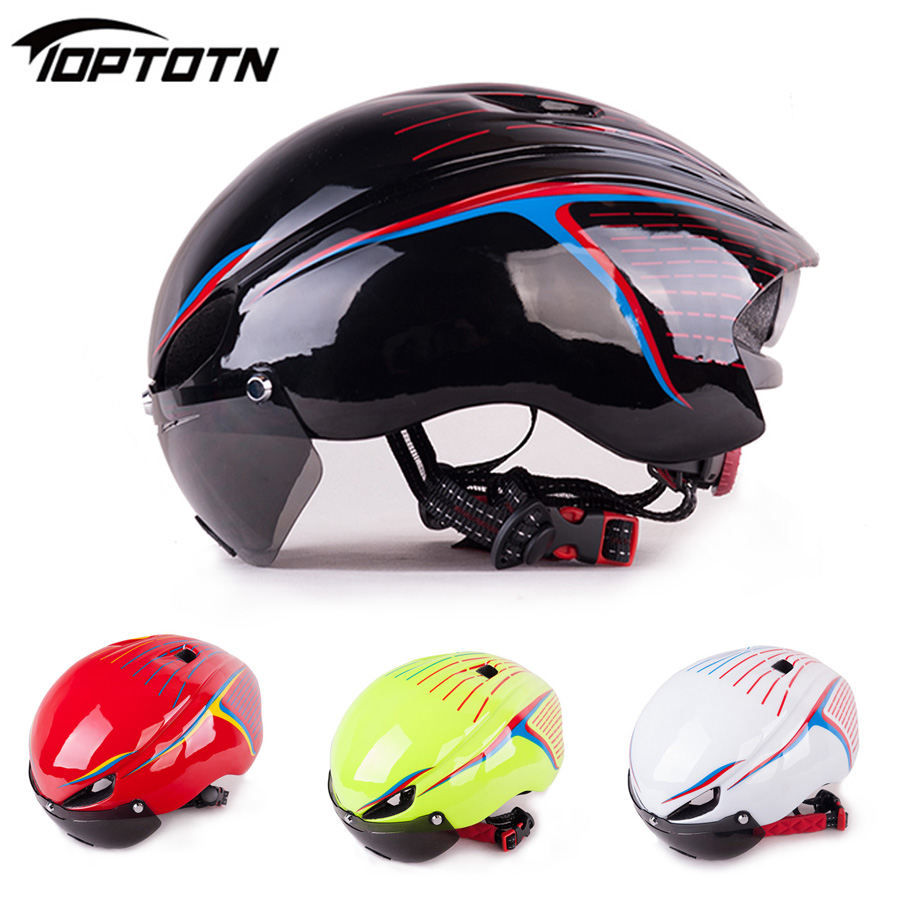Toptotn With Goggles Glasses Mtb Bike Cycling Helmet Bicicleta Capacete Casco Ciclismo Para Ultralight Lens Bicycle Helmets obaolay polarized cycling glasses 5 group lens mans mountain bike goggles sport mtb bicycle sunglasses ciclismo cycling glasses