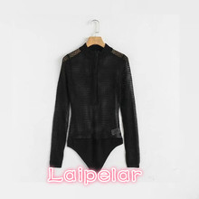 Sexy black hollow out Skinny Bodysuits Womens Jumpsuit Long Sleeve Streetwear Female Playsuits Casual Perspective overalls