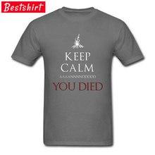 Dark Souls DnD Game T Shirts Battlefield Sword Demon Soul Witchcraft You Died Funny Tshirt Video Game Over Swordman T Shirt Men