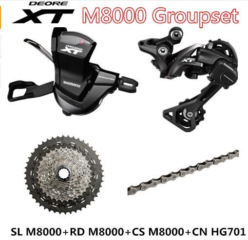 SHIMANO DEORE XT M8000 Groupset VTT Montagne Vélo Groupset 1x11-Speed 40 T 42 T 46 T SL + RD + CS + CN M8000 Levier de Dérailleur Arrière
