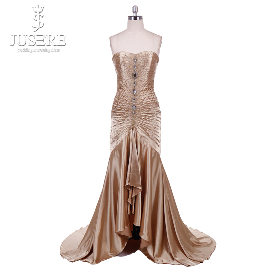 In Stock Fast Shipping Cheap Trumpet   Dress   Pleat With Beads Mermaid High Low   Prom   Gown 2018