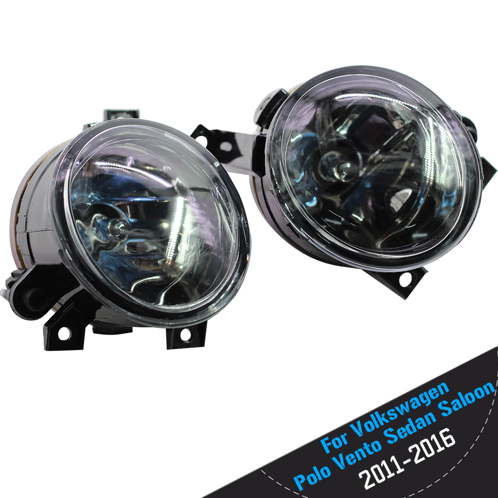 For Volkswagen Polo Vento Sedan 2011 2012 2013 2014 2015 2016 Car Front Fog Light Lampshade + 9006 HB4 100W Halogen Bulb 12V