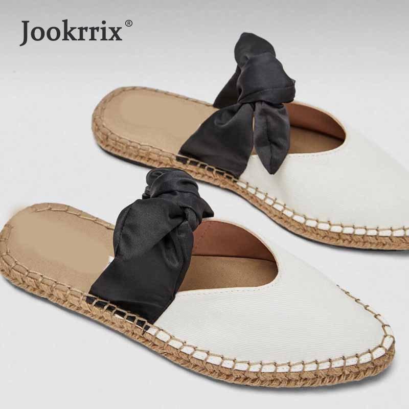 Jookrrix 2018 Summer Fashion Pointed Toe Flats Girl Slipper White Shoe Women Slides Lady Mules Bow Female Footware Good Quality