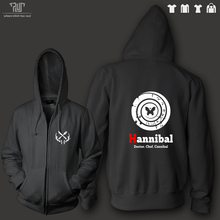 Hannibal clock design men unisex zip up hoodie 10.3oz 360gsm 82% organic cotton fleece inside high quality Free Shipping