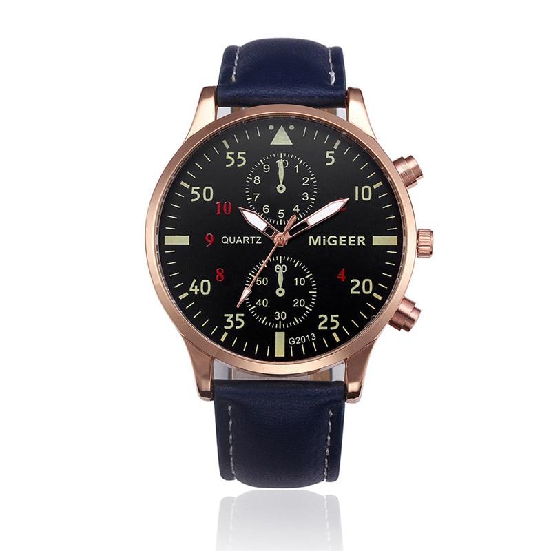 2017 Men Watches Retro Design Leather Band Analog Alloy Quartz Wrist Watch 2017 luxury brand blue shope 30%