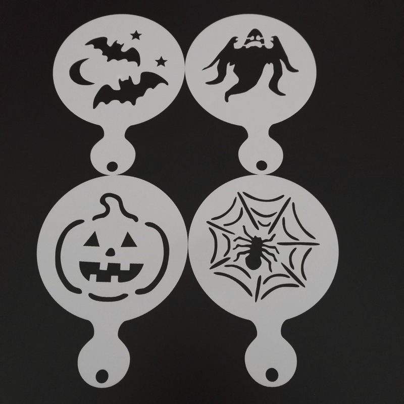 4pcs Holloween Coffee Stencils Latte Art Cookie Barista Capuccino Painting Cake Decorating Tools