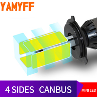 YAMYFF H4 LED Canbus D2S Car Headlight Bulbs LED Car Light D1S D3S D4S Lamp 6000K 8000LM 4 Side Auto Fog Lights Automobiles 12V