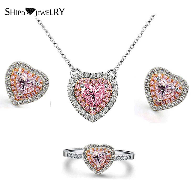Brand Jewelry SHIPEI Pink Hearts Necklace Earrings Ring Set in Plated White Gold with Crystal, Fashion Jewelry Set for Women yoursfs fashion jewelry women s necklace with heart pendant white gold plated crystal engraved mom for women gift