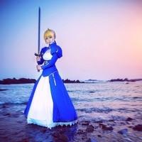 Saber Cosplay Fate Stay Night Costume Femmes Artoria Pendragon Stay Night Fate Zero Saber Cosplay Bleu Blanc Robe UWOWO