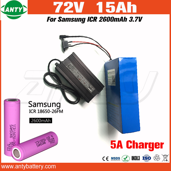Battery 72v 15Ah 1500w Lithium Battery 72v with 84v 5A Charger 30A BMS for Samsung 18650 Cell E Bike Battery 72v Free Shipping 30a 3s polymer lithium battery cell charger protection board pcb 18650 li ion lithium battery charging module 12 8 16v
