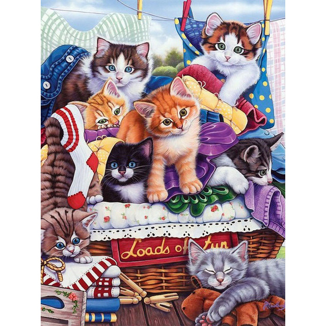 5D Diamond Embroidery Animal Cats Cross Stitch DIY Diamond Painting Diamond rhinestones Home Decor Mosaic gift in Diamond Painting Cross Stitch from Home Garden