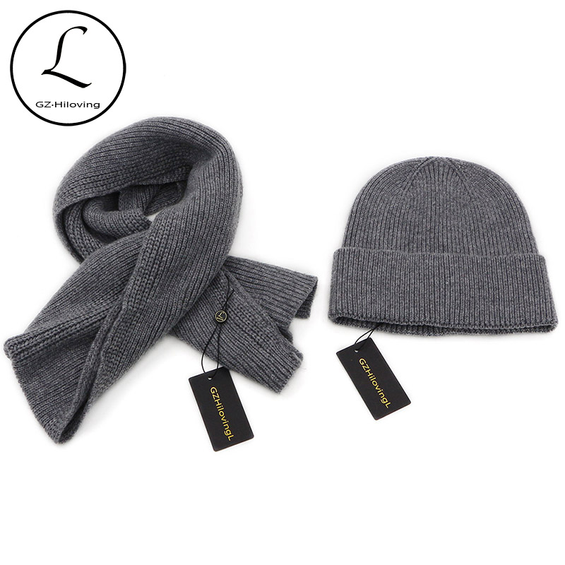 GZHILOVINGL 2017 2 Pcs Mens Hat And Scarf Set Winter Striped Black Navy Knitted Wool Kinder Skullies Beanies Hats And Scarf Sets