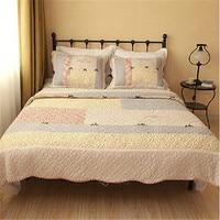FADFAY Queen Size Patchwork Bedding Sets Romantic Floral Bed Set Quilt Bedspread Grey Red Bedding Set 100% Cotton Comforter Set