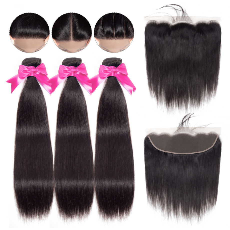 Gabrielle Indian Straight Human Hair Bundles with Frontal Pre plucked with Baby Hair Natural Color 100
