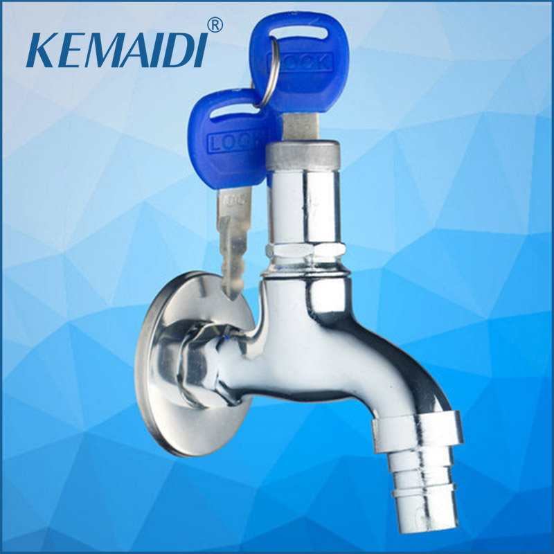 Kemaidi Single Cold Wall Mounted Washing Machine Bathroom Key Lock Switch Chrome 2013 Basin Sink Torneira Faucets Taps Home Improvement