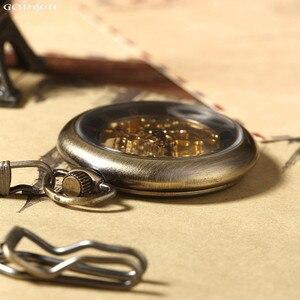 Image 3 - 새로운 뜨거운 판매 복고풍 청동 로마 숫자 기계식 주머니 시계 fob 체인 해골 손으로 감는 주머니 시계와 남성 여성을위한