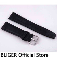 BLIGER 22MM Black Genuine Leather Strap Stainless Steel Buckle Pin Clasp Leather Watch Band Fit For Men's Watch ST11