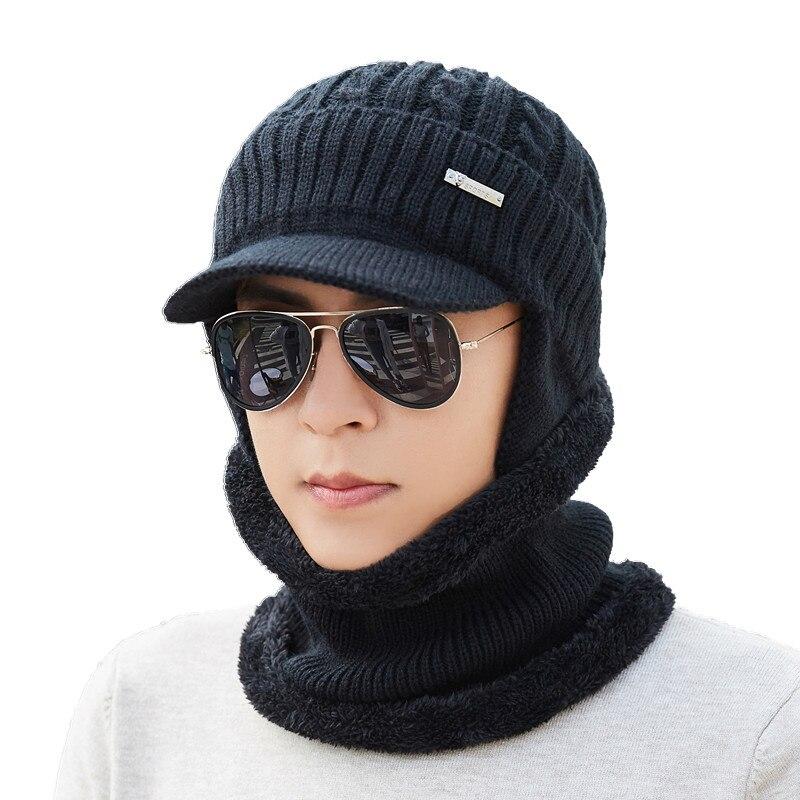 Winter Hut Schal Skullies Mützen Für Männer Gestrickte Hut Frauen Maske Dick Balaclava Earflap Wolle Motorhaube Männlichen Beanie Hüte Kappe