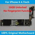 Para iphone 6 4.7 inch placa base 16 gb desbloqueado 100% original placa lógica mainboard con chips ios sin huellas dactilares uso en todo el mundo