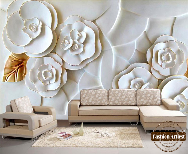 Custom Modern 3d Floral Wallpaper Mural Embossed White Flower Golden Leaf Tv Sofa Bedroom Living Room Cafe Restaurant Background In Wallpapers From Home