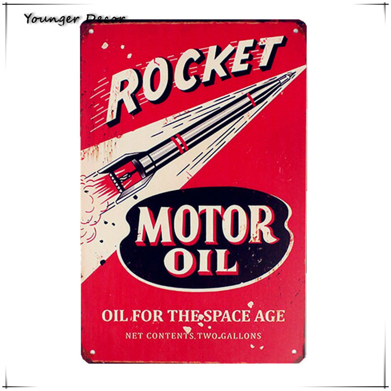 US $3 98 30% OFF|Retro Rocket Motor Oil Vintage Metal Signs Gas Oil For The  Space Age Tin Plate Iron Poster Classic Home Wall Decor YA165-in Plaques &