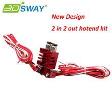 3DSWAY 3D Printer Parts Improved Chimera 2 In 2 Out Hotend Kit with Thermistor and Cartridge Heater 0.4mm/1.75mm
