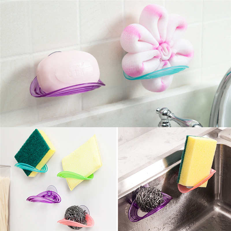 Image 1 - Kitchen Storage Rack Towel Soap Dish Holder Kitchen Bathroom Sink Dish Sponge Storage shelf Holder Rack Robe Hooks Sucker-in Racks & Holders from Home & Garden