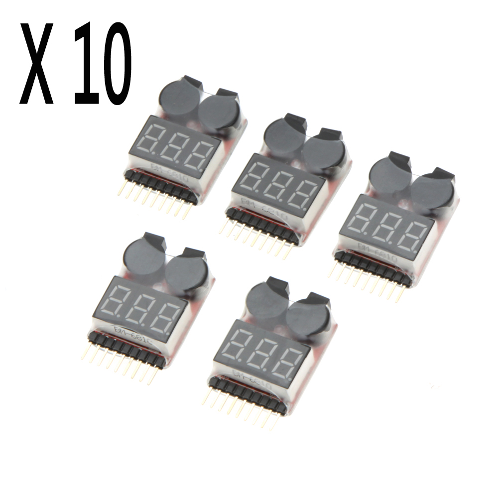F00872-50 50Pcs Lipo Battery Voltage Tester Volt Meter Indicator Checker Dual Speaker 1S-8S Low Voltage Buzzer Alarm 2 IN 1 5pcs hotrc bx100 1 8s lipo battery voltage tester low voltage buzzer alarm battery voltage checker with dual speakers