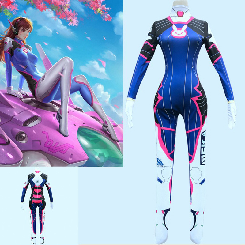 Overwatch DVA Cosplay Costume Dva Suit Anime Wig Spandex Lycra Zentai Women Bodysuit Halloween Party Game D.va Costumes