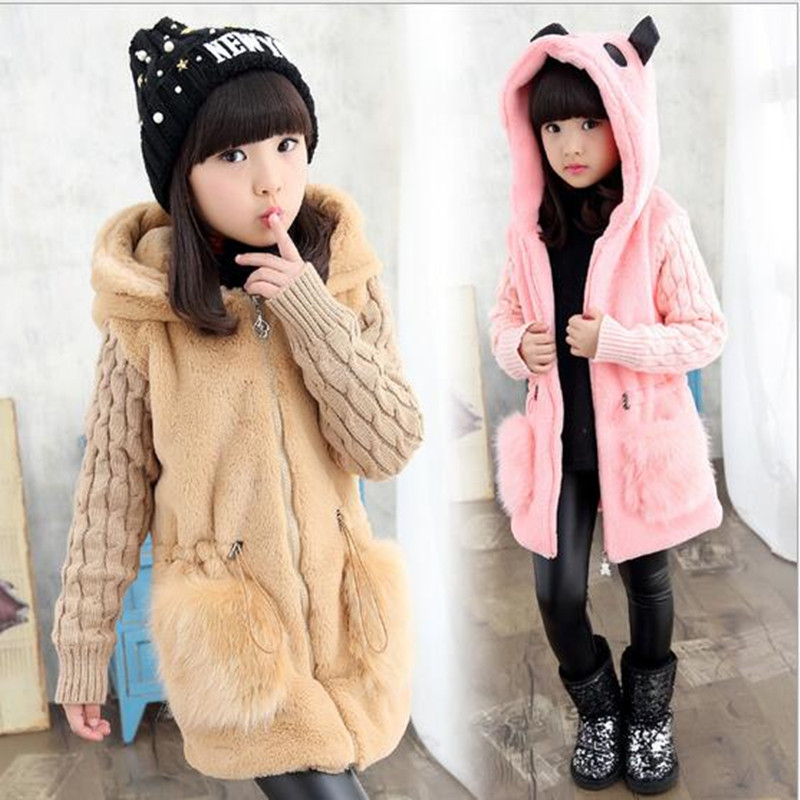 2017 Girls Winter Long Sleeve Faux Fur Coat Girls Winter Hooded Kid School Lovely  Keep Warm Christmas Coat Kid Fashion Clothes 2017 winter new clothes to overcome the coat of women in the long reed rabbit hair fur fur coat fox raccoon fur collar