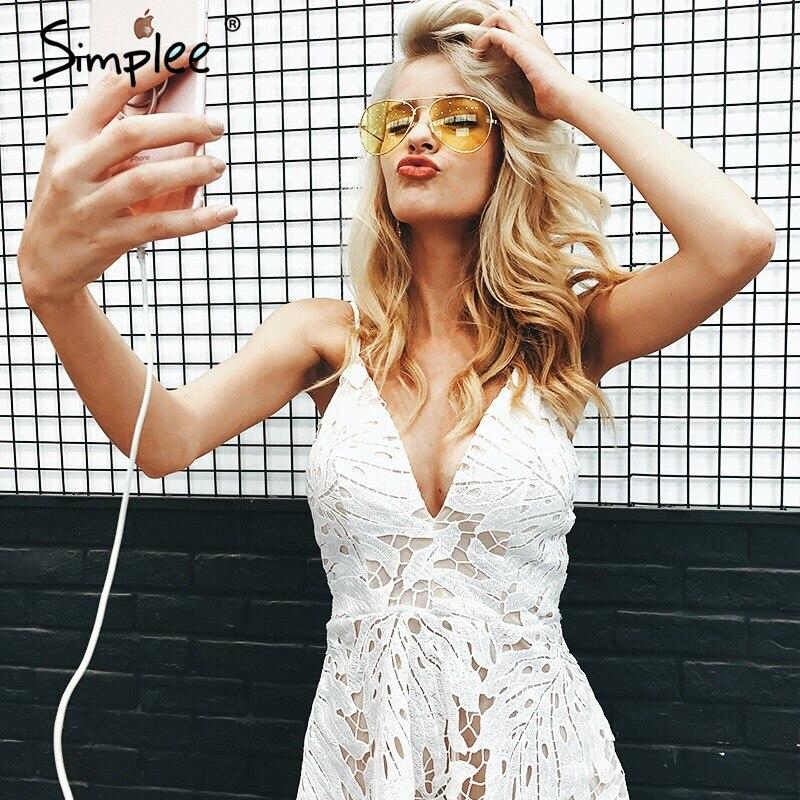 Simplee correias Sexy backless v pescoço vestido de renda das mulheres Casuais cintura alta irregular vestido de verão 2017 vestido de festa de praia robe femme