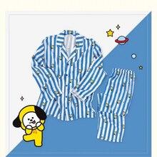 New Kpop BT21 Bantan Boys BTS JUNG KOOK JIMIN V Same Cotton Pajamas Nighty Man and Women's Bedgown Sleepwear Pyjamas Set