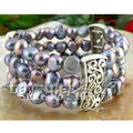Stretchy! 3Rows AA 8-9MM Baroque Shaper Genuine Freshwater Black Pearl Bracelet Beautiful Pearl Jewellery Free Shipping FN1654